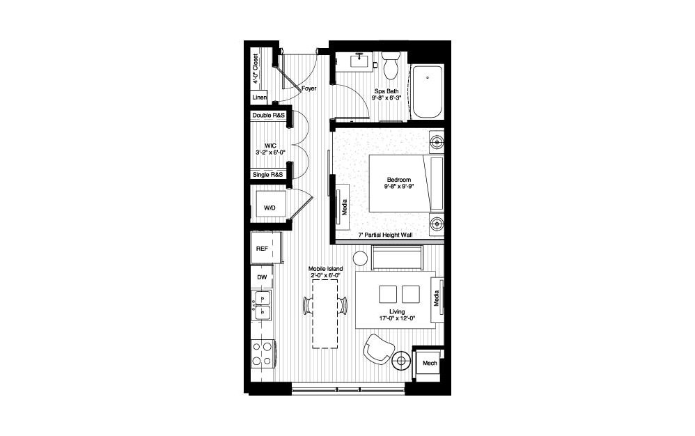 Glen - Studio floorplan layout with 1 bath and 541 square feet.