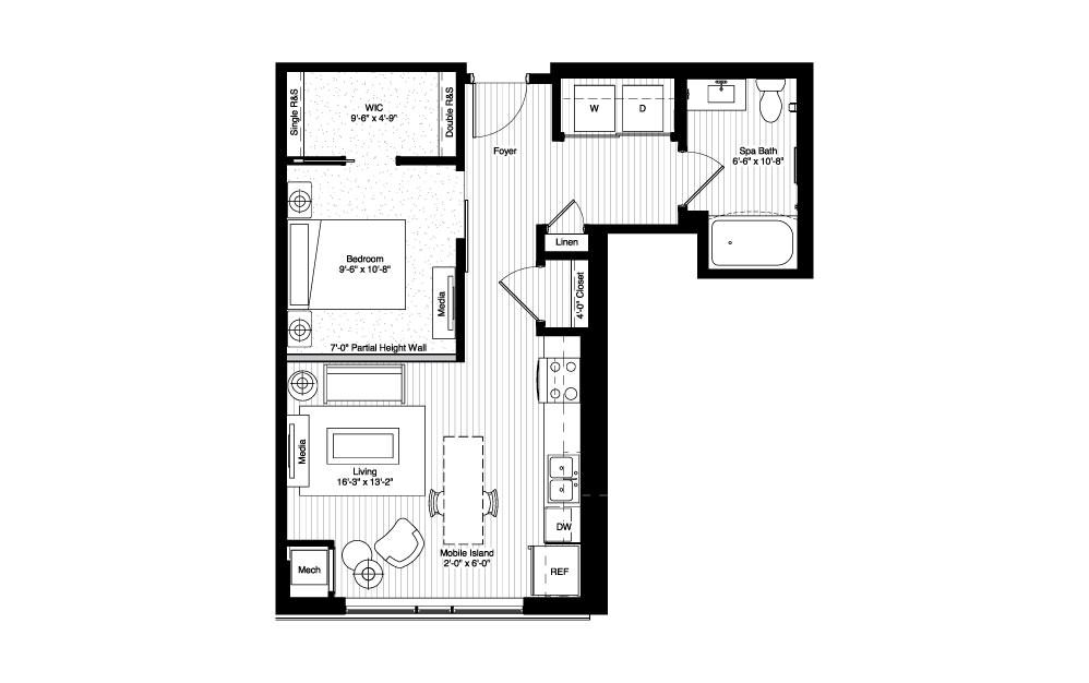 Mitchell - Studio floorplan layout with 1 bath and 606 square feet.