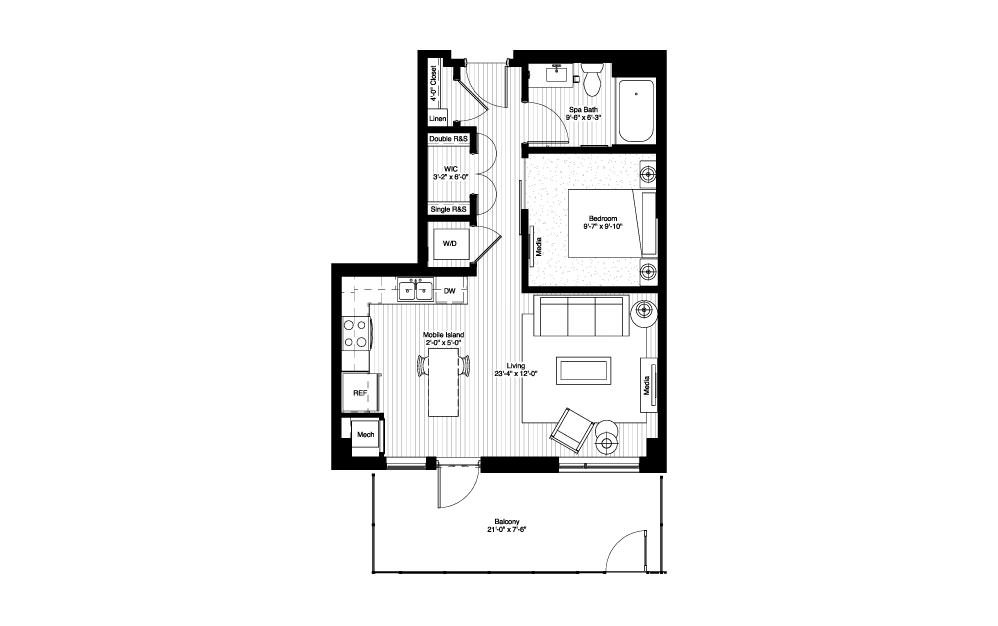 Itasca - Studio floorplan layout with 1 bath and 633 square feet.