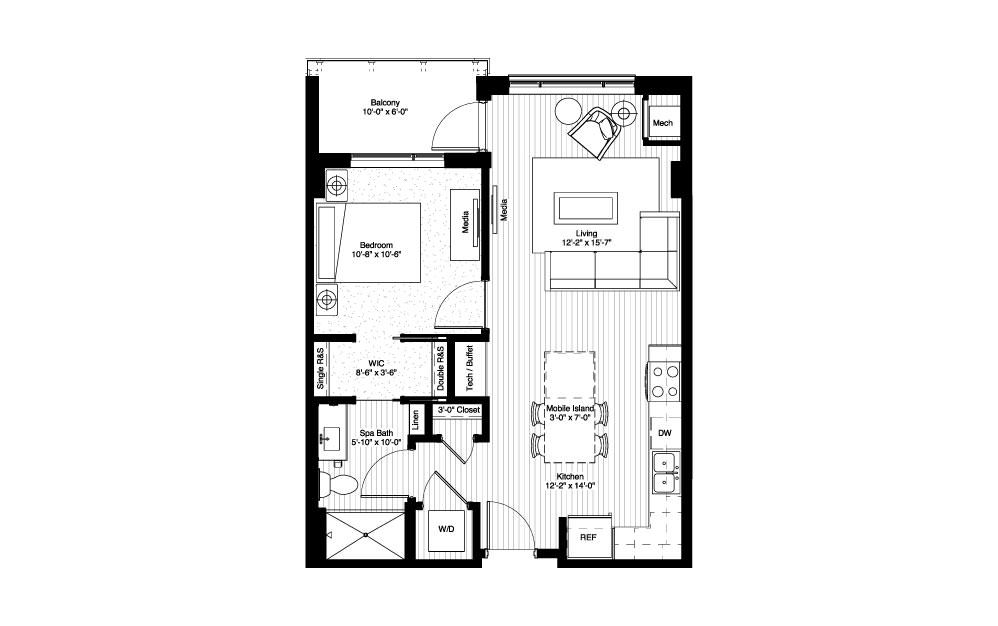 Isles - 1 bedroom floorplan layout with 1 bath and 685 square feet.