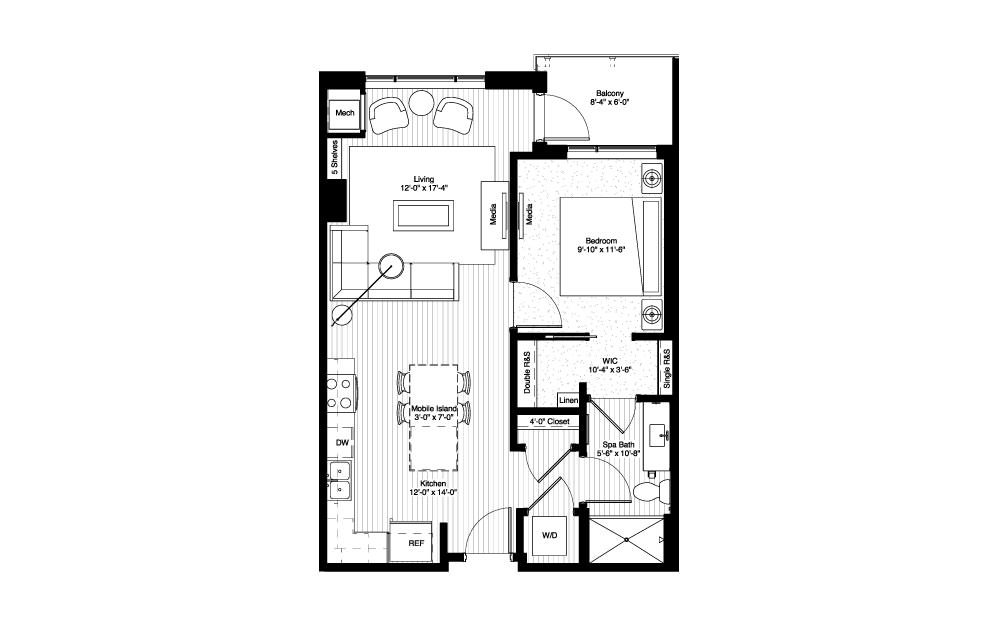 Calhoun - 1 bedroom floorplan layout with 1 bath and 726 square feet.