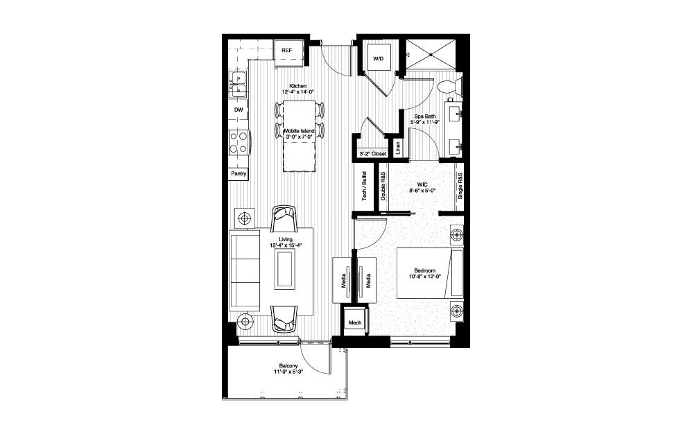 Harriet - 1 bedroom floorplan layout with 1 bath and 735 square feet.