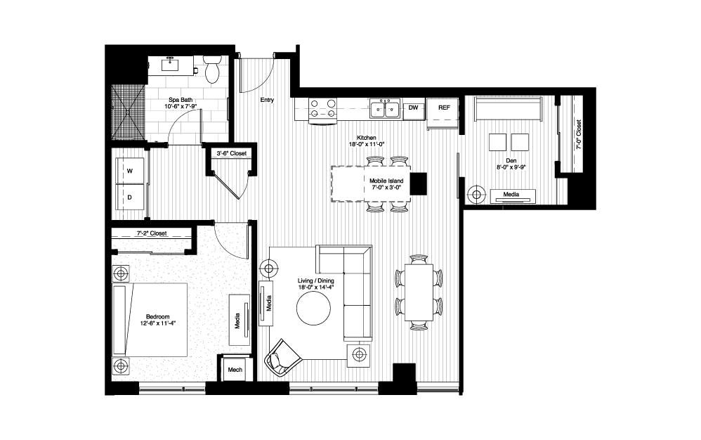 Langdon - 1 bedroom floorplan layout with 1 bath and 1031 square feet.