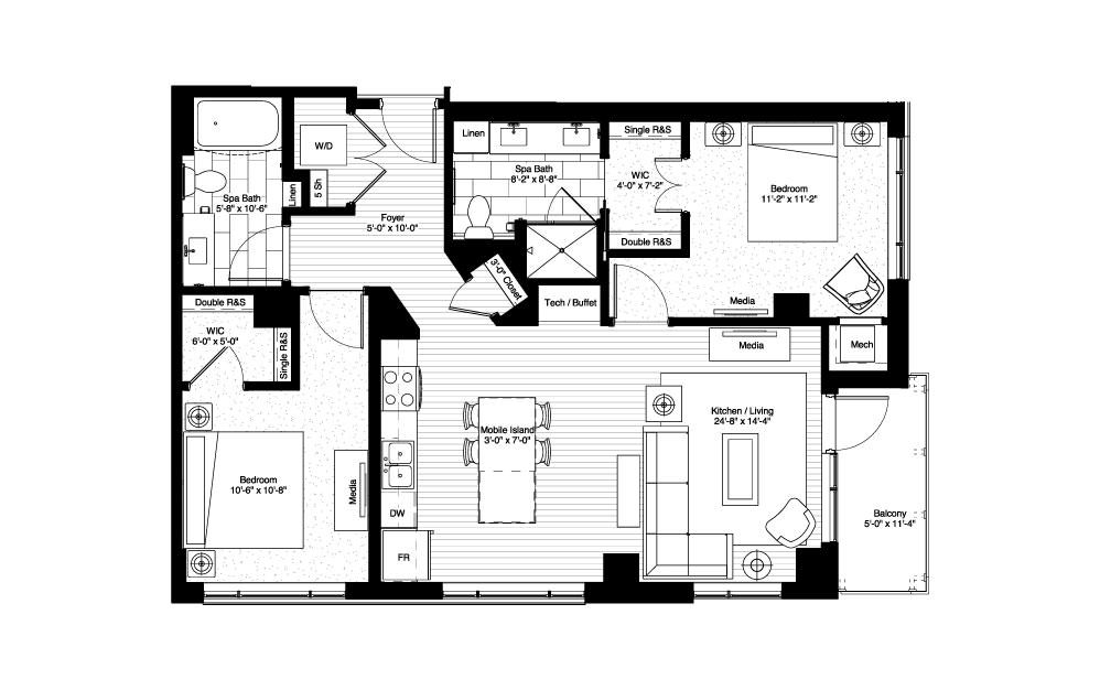 Bartlett - 2 bedroom floorplan layout with 2 baths and 1070 square feet.