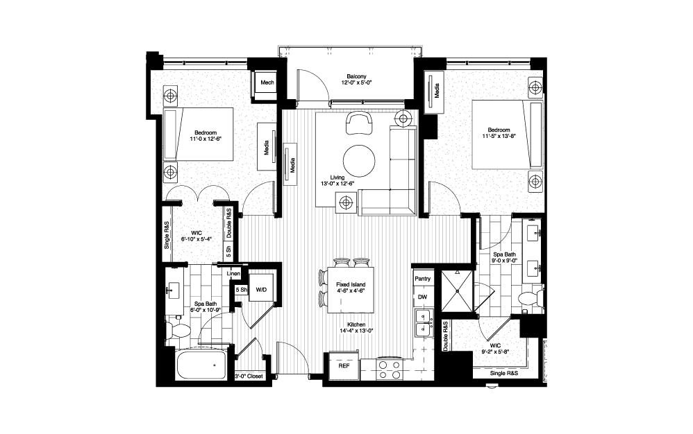Lida - 2 bedroom floorplan layout with 2 baths and 1070 square feet.
