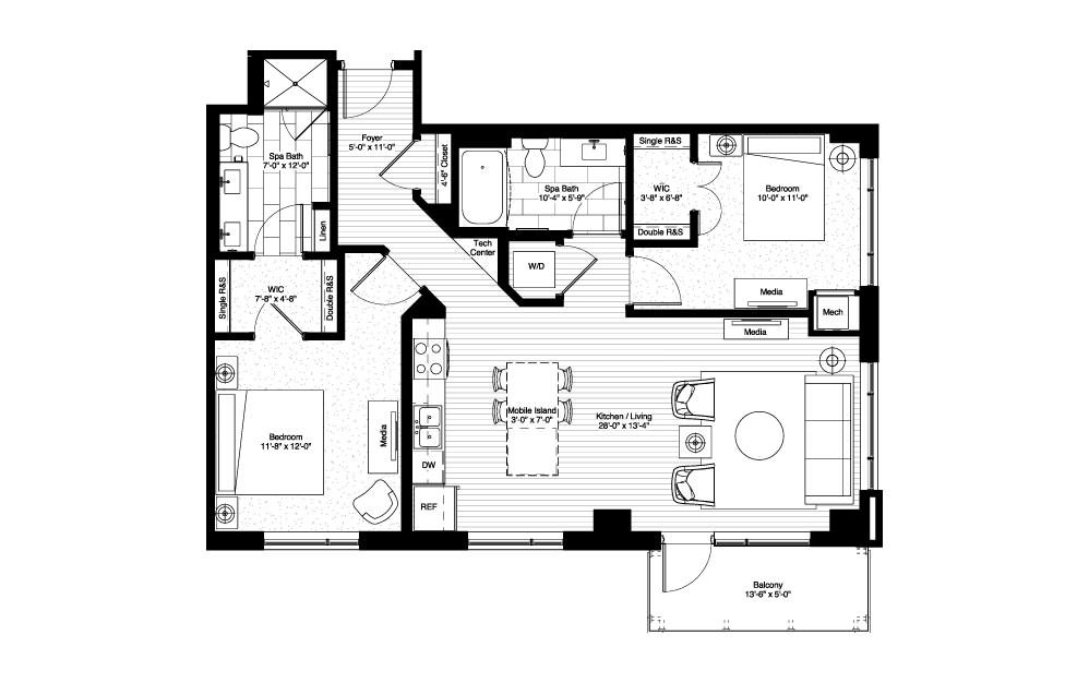 MilleLacs - 2 bedroom floorplan layout with 2 baths and 1114 square feet.