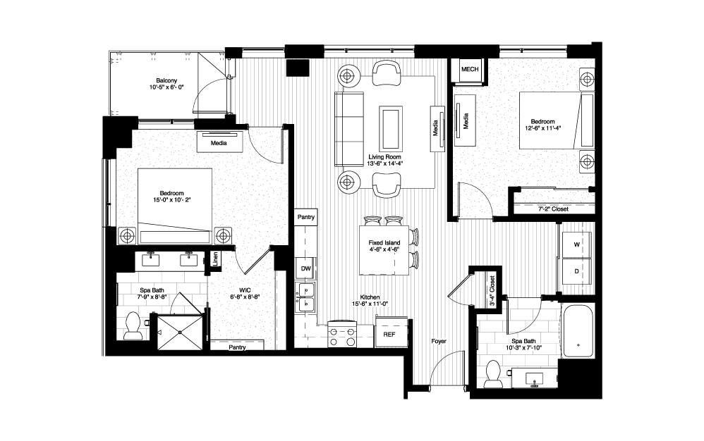 Minnetonka - 2 bedroom floorplan layout with 2 baths and 1149 square feet.