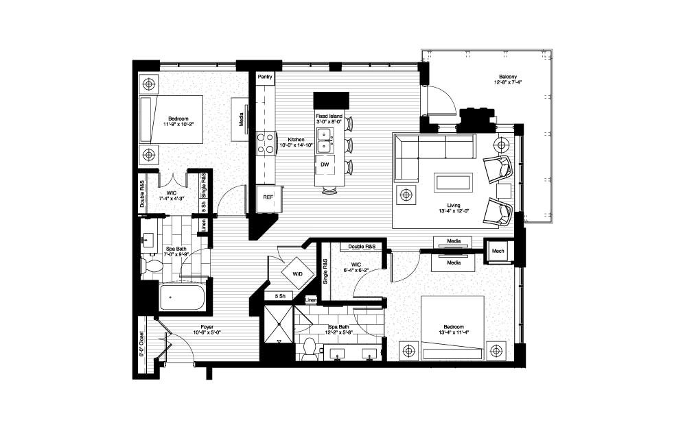 Superior - 2 bedroom floorplan layout with 2 baths and 1201 square feet.